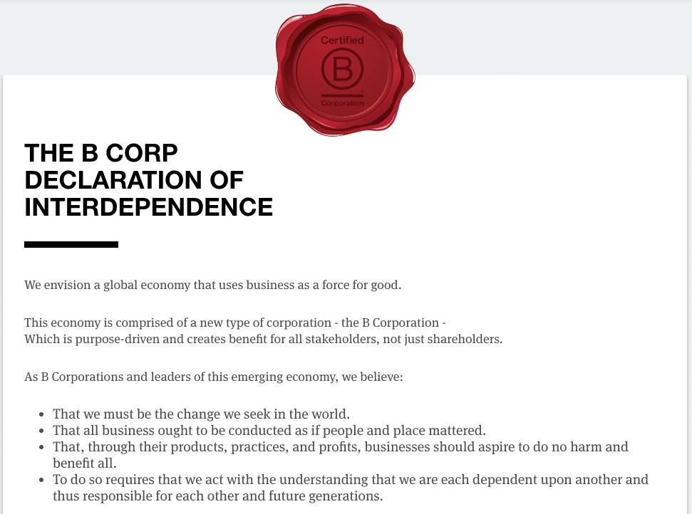 B Corp Declaration