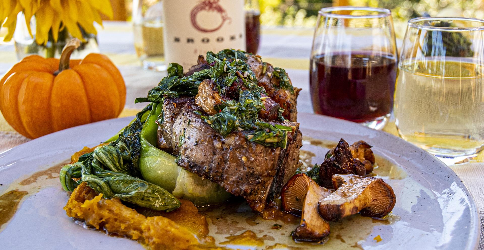 Brooks WIne lamb dish