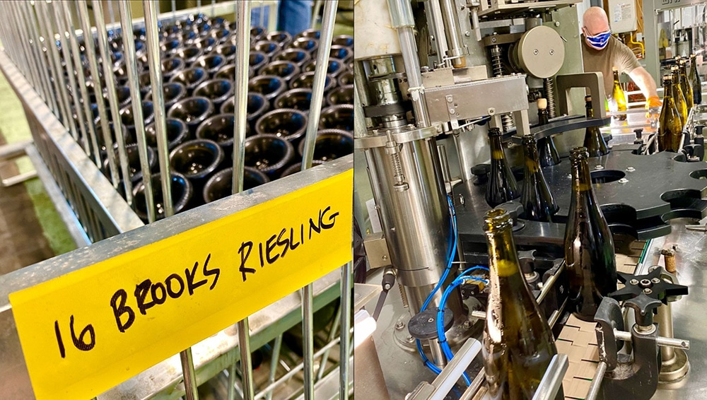 Brooks Wine being bottled